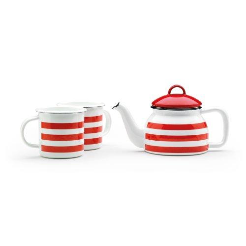 Prestige Enamelware Teapot & 2 Mug Set, Red Stripe