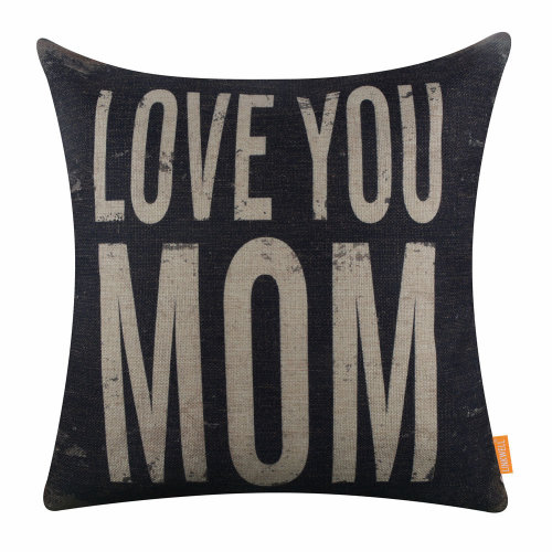 """18""""x18"""" Happy Mother's Day Gift Holiday Love You Mom Burlap Pillow Cover Cushion Cover"""