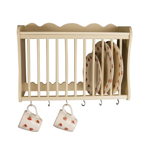 Minack Buttermilk Wooden Kitchen Plate Rack, wall mounted shelf, hooks