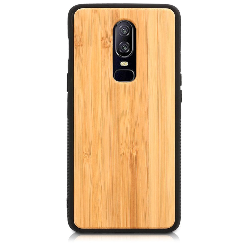 online store 49a61 f383f kwmobile Wooden protective cover for OnePlus 6 - Hard case with TPU Bumper  bamboo in Light Brown