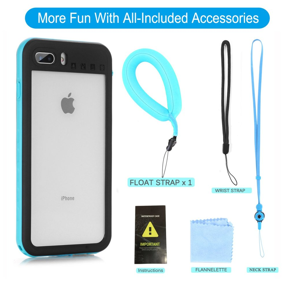huge selection of ad5a1 dcc90 Waterproof Phone Case iPhone 8 Plus / 7 Plus Full-Body Rugged Cover IP68  with Floating Strap Fingerprint Sensitive Slim Shockproof Waterproof...