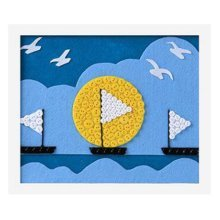 Lovely Boat DIY Button Painting Mosaic Craft for Kids