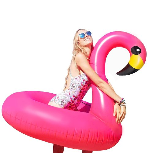 WISHTIME Giant Inflatable Flamingo Pool Float - Summer Outdoor Island Ride-on Lounger Lilo Pool Party Toys Kids Adults