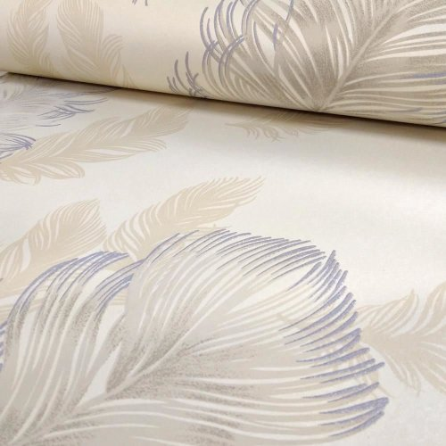 NEW ARTHOUSE SIRIUS FEATHER PATTERN BIRD MOTIF METALLIC TEXTURED WALLPAPER ROLL[PEARL 673603]