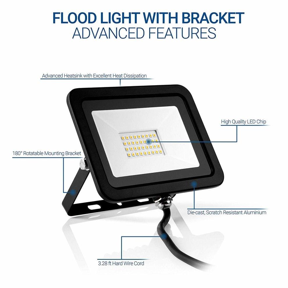 Rimarup 30w led flood light220v outdoor led flood light with 180degree adjustable bracket 6000k