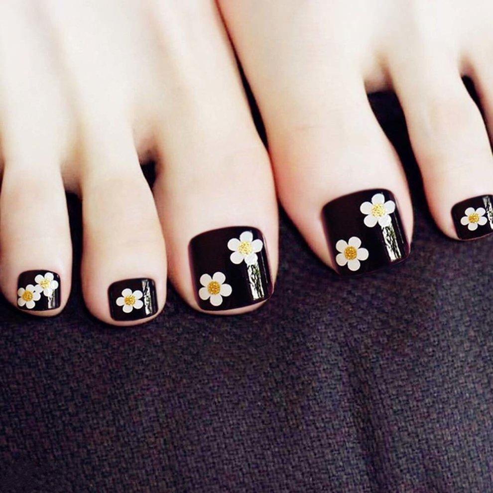 Flower Black Short Artificial False Nails Tips False Toenails Nail ...