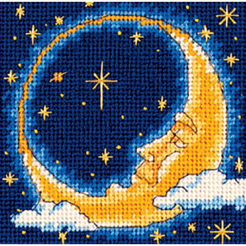 "Dimensions Mini Needlepoint Kit 5""X5""-Moon Dreamer Stitched In Thread"