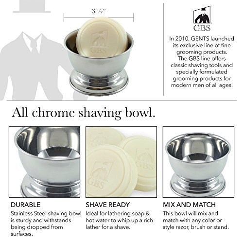 GBS Stainless Shaving Bowl Includes GBS Ocean Driftwood 97 All Natural Soap in Gift Box