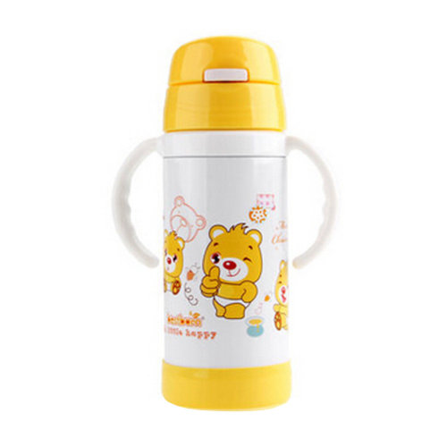 Straw Bottle to First Cup Trainer Stainless Steel Vacuum Flask,6+ Months,Yellow
