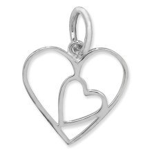 Childrens Sterling Silver Plain Cut Out Heart Pendant On A Curb Necklace