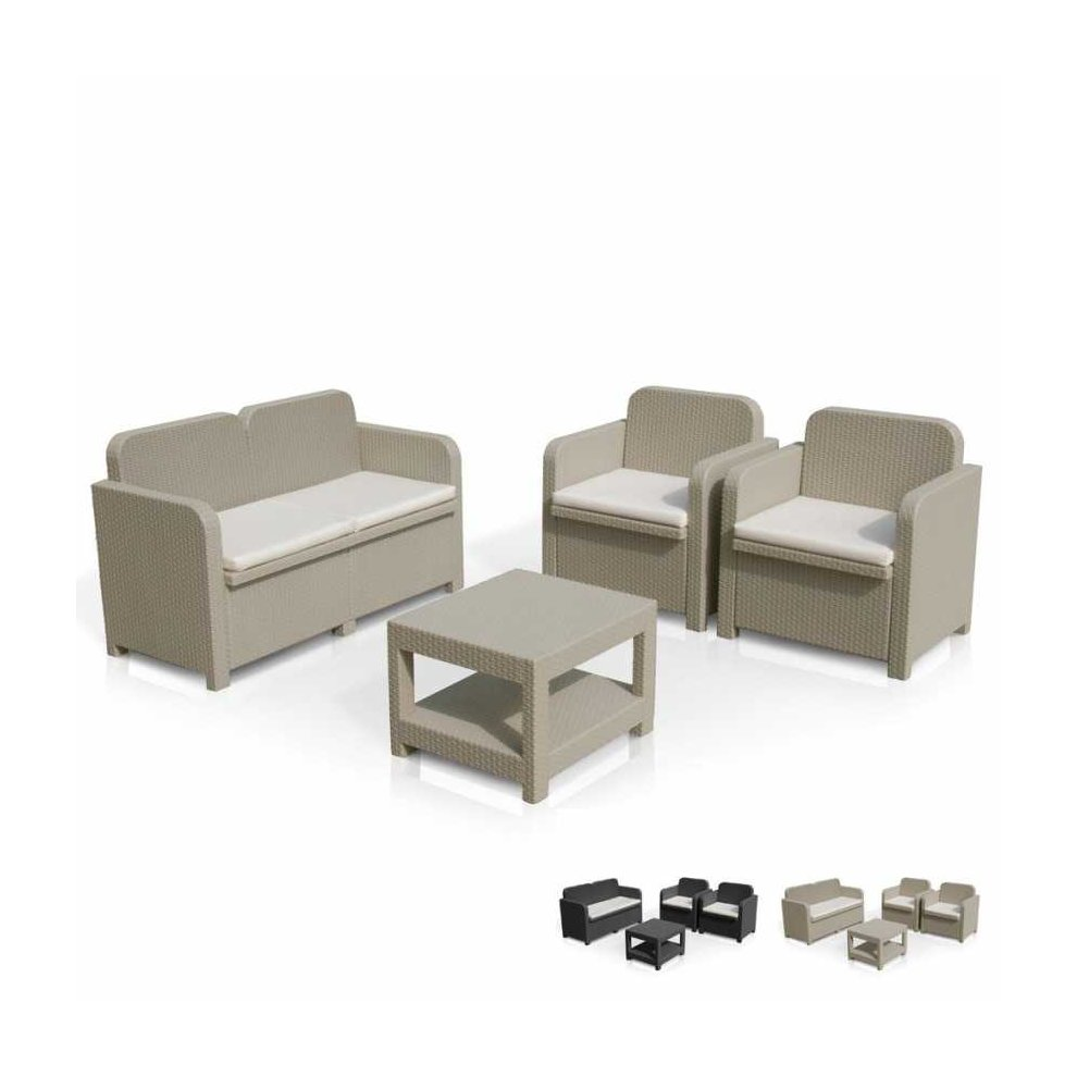 Set Rattan Sorrento Grand Soleil.Garden Sofa Outdoor Lounge 4 Seater Table Cushions Sorrento