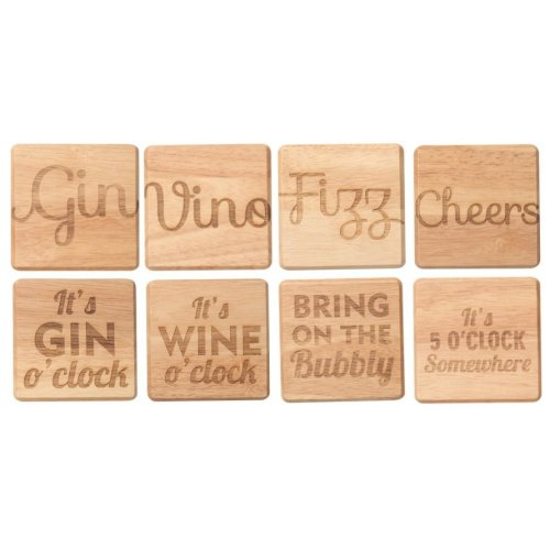 TG Woodware Bar Coasters Gin Vino Fizz Cheers Gin o Clock FREE POSTAGE P
