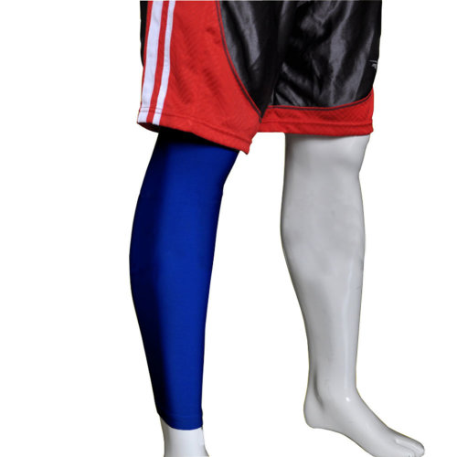 """[BLUE] 17.7"""" Long Compression Basketball Leg Sleeve One Pic, Size Middle"""