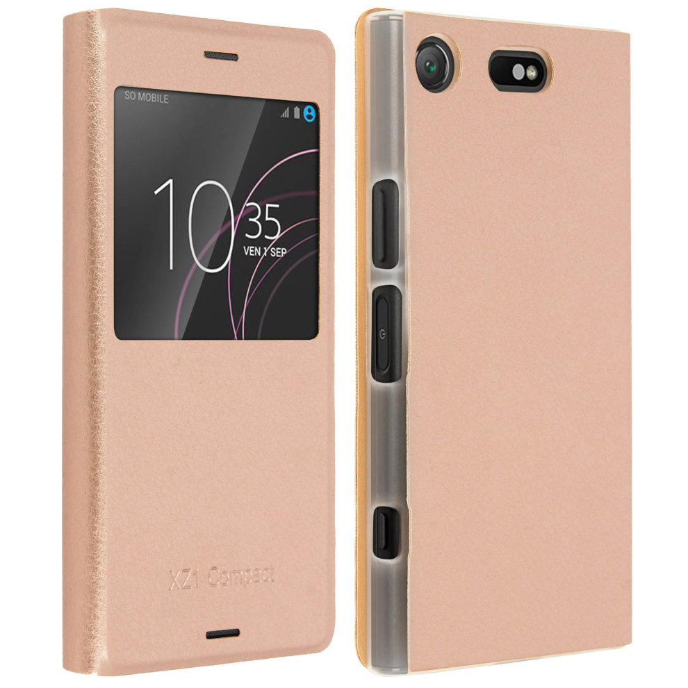 sale retailer 9604c 29233 Smart view window flip case for Sony Xperia XZ1 Compact, slim cover – Gold