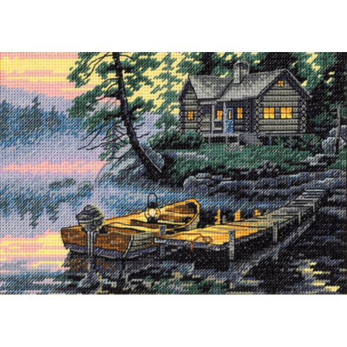 "Dimensions/Gold Petite Counted Cross Stitch Kit 7""X5""-Morning Lake (18 Count)"