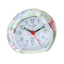 Green Leaf Floral Bedroom Alarm Clock Silent Sweep No Ticking 9501gf