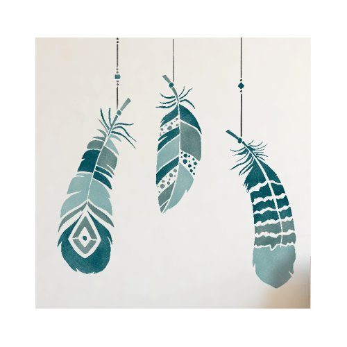 Feathers Wall Furniture Stencil Set for Painting