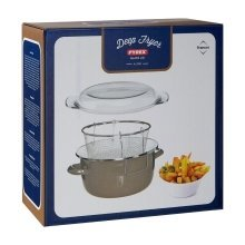 Deep Fryer with Pyrex Lid, 5 Assorted Colours