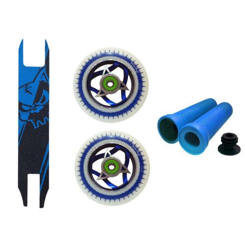 Combo White Blue Ninja Core 110mm+ Blue Black Griptape+Handlebar Grips