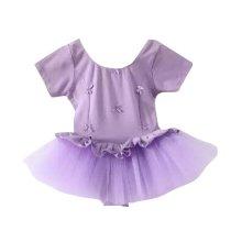 Soft Cotton Purple Girls Dress for Dancing/Ballet/Gymnastics