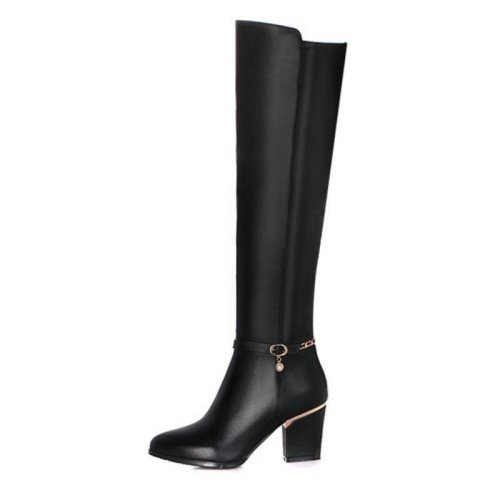 Women Genuine Leather Over The Knee Boots Winter Boots Sexy Square Heel Fashion Pointed Toe Women Boots Shoes Size 34-39