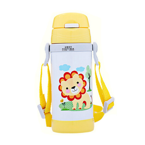 Cute Stainless Steel Drink Bottle With Straw, Lion Pattern
