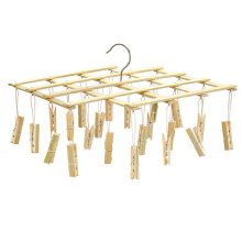 Laundry Bamboo Clothespins Clothesline Drying Hanger Rack, 22 Clips,56 X 9 CM