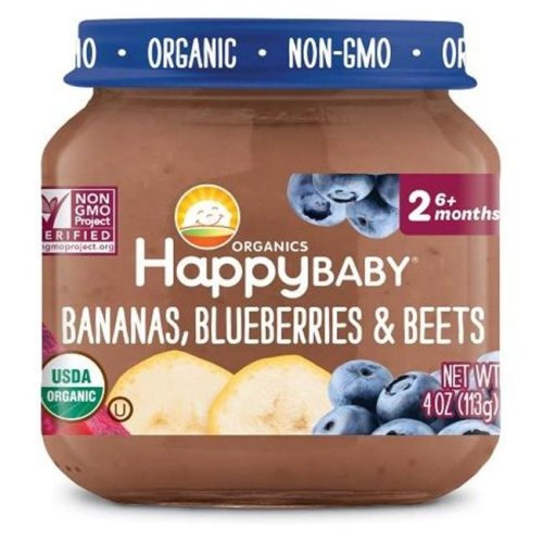 Happy Baby 318855 Stage 2 Banana Blueberry Beet Clearly Crafted Baby Food in Jar, 4 oz - Pack of 12