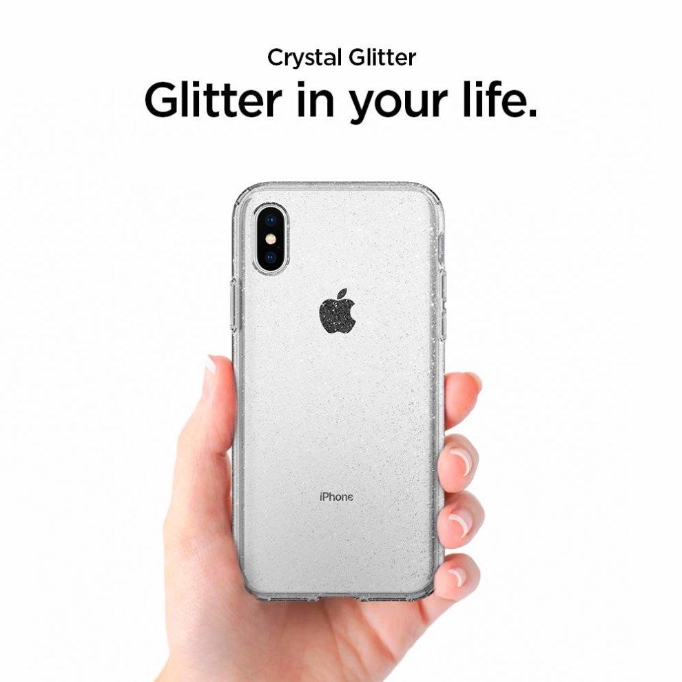 the latest fbc76 8c59f Spigen Liquid Crystal Designed for Apple iPhone XS Case (2018) / Designed  for Apple iPhone X Case (2017) - Glitter Crystal Quartz
