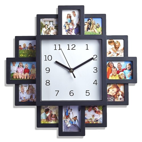 LIVIVO ® Black 12 Picture Photo Frame Wall Clock- Stylish Modern Family Picture Frame and Time Piece