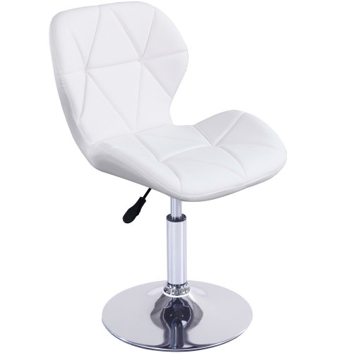 (White) Cushioned Swivel Chair | Small Adjustable Computer Chair