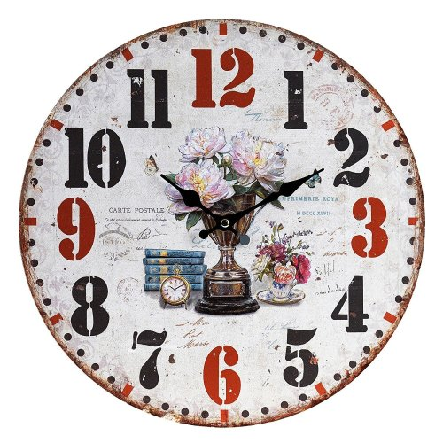Obique Home Decoration Flowers, Cup & Books Scene MDF Wall Clock 34cm