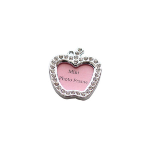 [Apple Shape] Rhinestone Decorated Mini Photo Frame Style Dog ID Tag Cat ID Tag