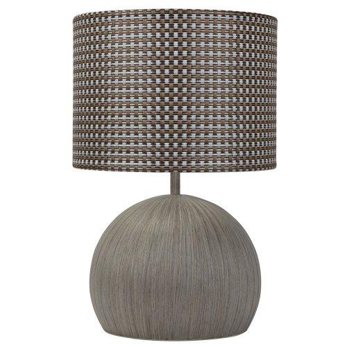 Washed Grey Globe Base Bedside Table Lamp Desk Light Home Weaved Pattern Shade