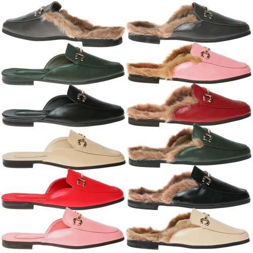 Womens Backless Loafers - Dorothy Flat Slip On Mules