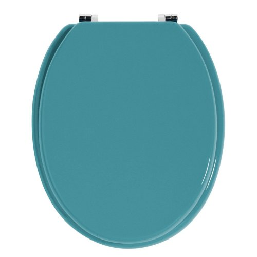 Natural Wood Toilet Seat With Zinc Alloys Fittings, Turquoise