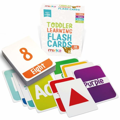 merka Kids Alphabet Colors Shapes and Numbers Learning Pocket Flash Cards - 58 cards with beautiful illustrations and bright colors