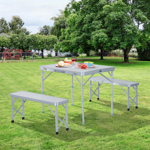 Outsunny Folding Table Chairs Picnic Portable Camping Dining Garden Bbq Aluminium On