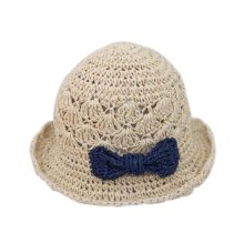 Fashionable Summer Straw Beach Bow Cream-Colored Girl Hat