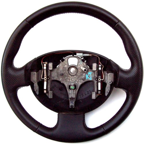 Renault Scenic Black Leather Steering Wheel 8200106306F 8200282593A