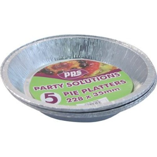 PPS 5 x Round FOIL Pie DISH-23cm x 3.5cm Disposable Tray