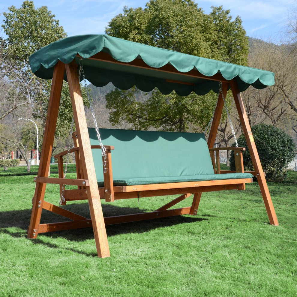 Outsunny 3 Seater Wooden Swing Chair 2 In 1 Swing Bench Bed