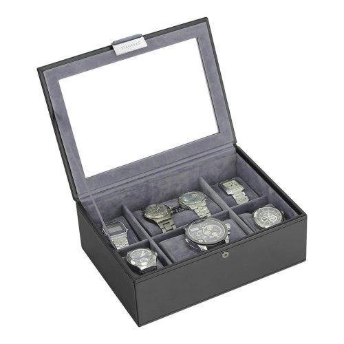 Stackers Black Leatherette Glass Lid Watch Box Cufflink Ring Storage Case Men