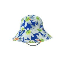 Baby Girls' Floppy Brim Sun Protection Satin Drill Bucket Hats Blue
