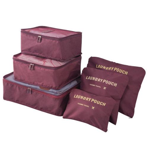 Miss Lulu 6Pcs Clothes Underwear Socks Packing Travel Luggage Organizer Bag Cube Storage Burgundy