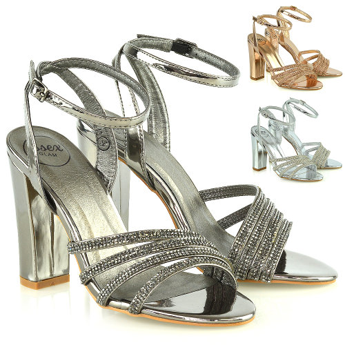 Womens Strappy Ankle Strap Sandals Ladies Block High Heel Party Bridal Shoes