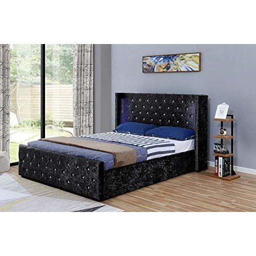 5b753b1cbd2c Beautiful Deep Tufted winged crushed velvet Chesterfield SIDE LIFT Ottoman  Storage Bed on OnBuy