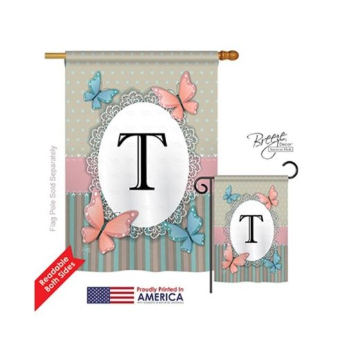 Breeze Decor 30150 Butterflies T Monogram 2-Sided Vertical Impression House Flag - 28 x 40 in.