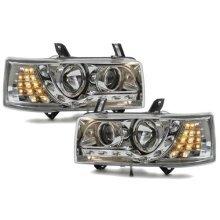 Volkswagen Transporter T4 Short Nose  Inc.caravelle 1990-2003 Chrome Drl Headlights Pair