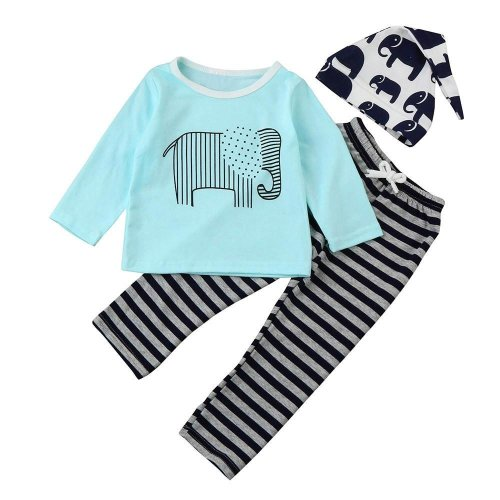 Baby clothes 2017 autumn Children clothing sets newborn cotton Animal Striped printed long sleeved t-shirt+pants+Hat 3pcs suit